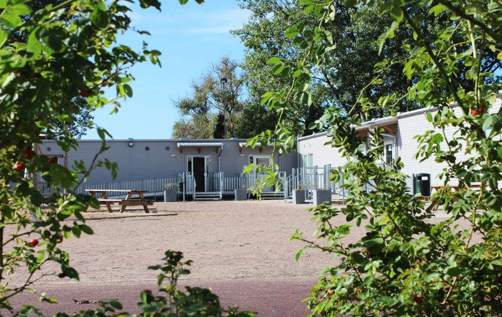 Skolgårdsvy med buske i förgrunden